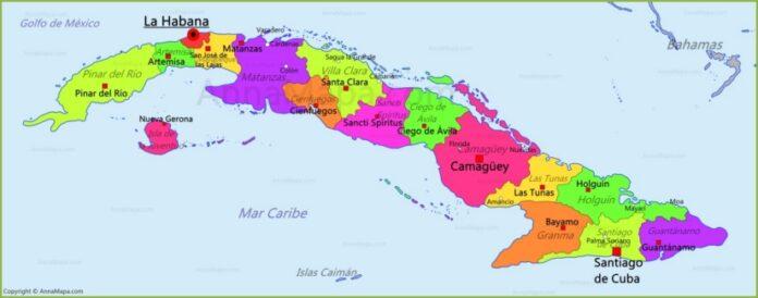 Cartina politica di Cuba